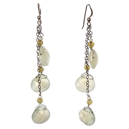 Pearl & Lemon Quartz Drop Earrings