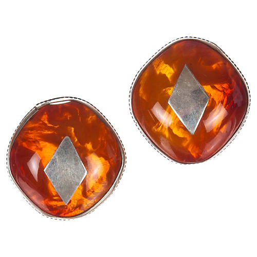 African Sterling Silver Amber Earrings