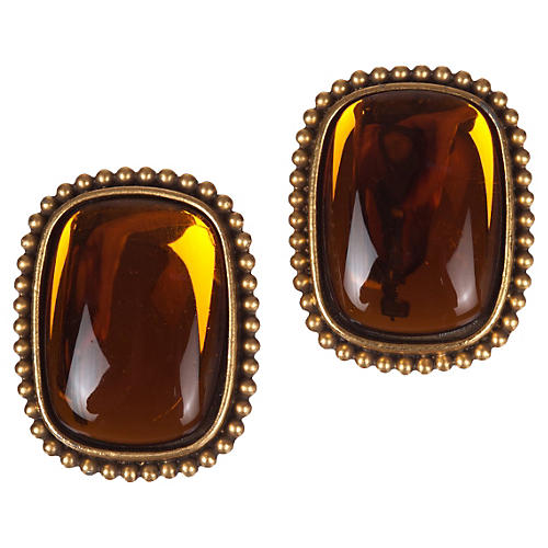 YSL Orange Lucite Earrings
