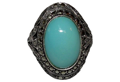 Art Deco Sterling Turquoise Ring