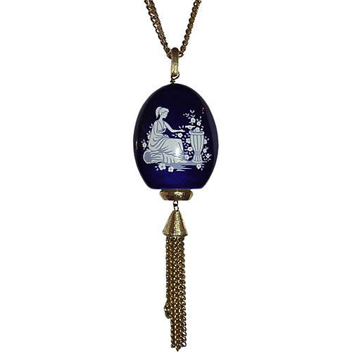 Lanvin Blue Porcelain Tassel Necklace