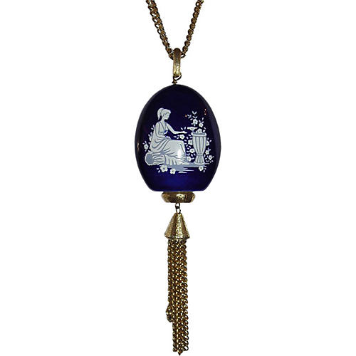 Lanvin Blue Porcelain Tassel Necklace