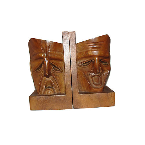 1960s Drama Face Bookends