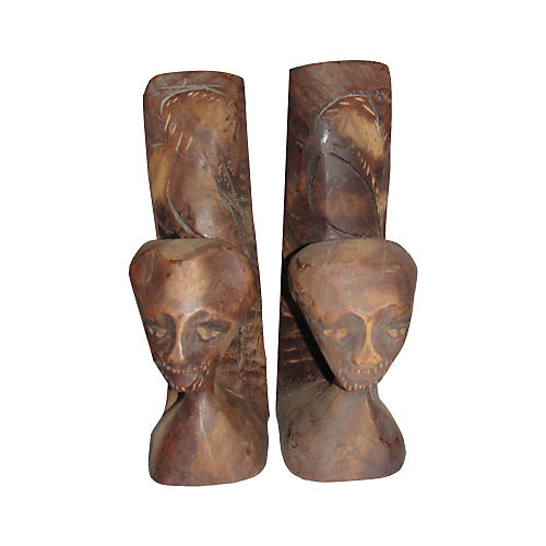 African Carved Mahogany Wood Bookends
