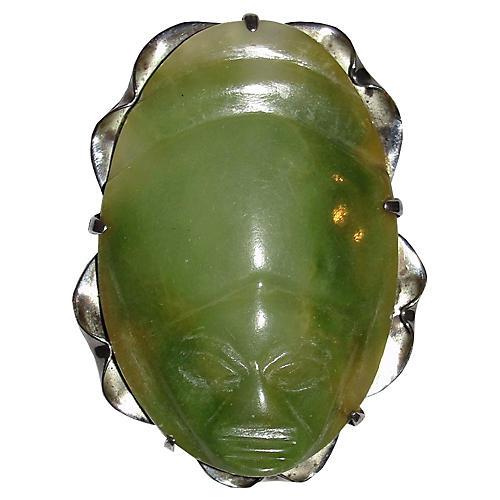 Jade & Sterling Silver Mask Brooch