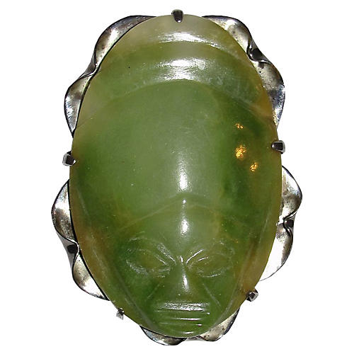 Jade & Sterling Silver Mask Brooch