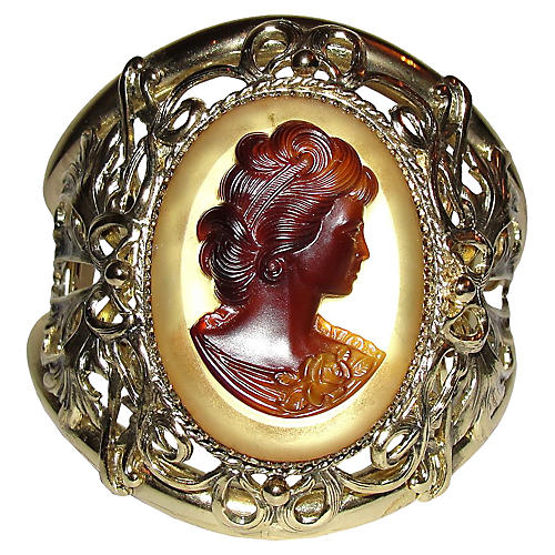 Whiting & Davis Goldtone Cameo Bracelet