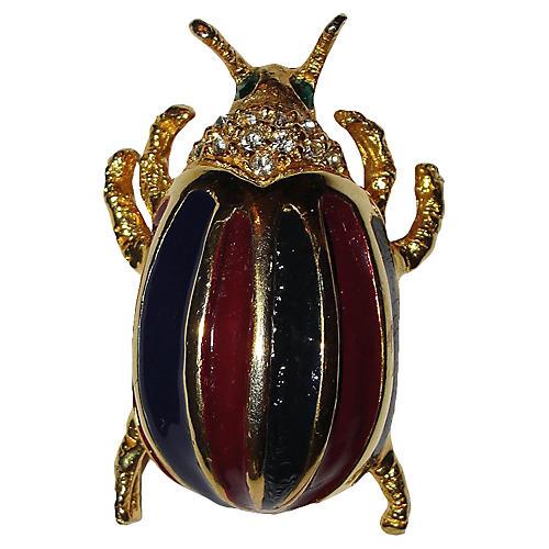 KJL Enamel Rhinestone Bug Pin