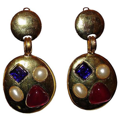 Chanel Gripoix Chandelier Earrings