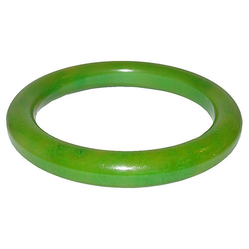 Green Swirl Bakelite Bangle