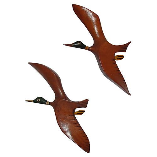 Arts & Crafts Duck Pins, Pair