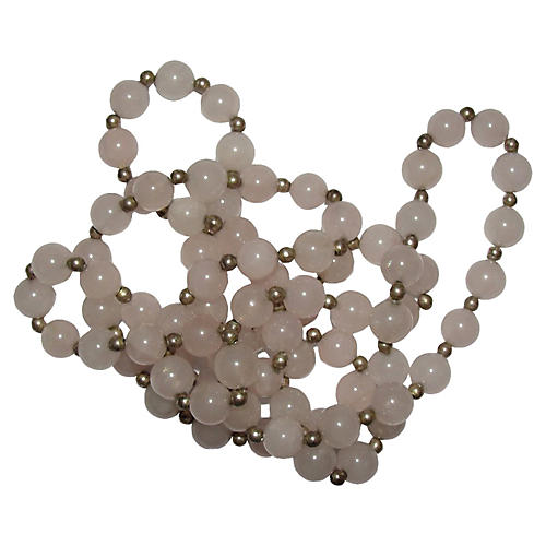 Rose Quartz Silver-Plated Bead Necklace