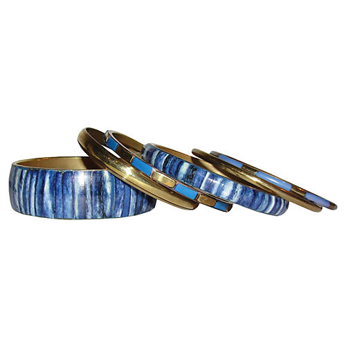 Indian Blue Yak Bone Brass Bangles, S/6