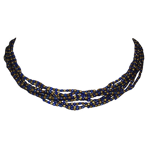 Indian Blue Glass & Brass Bead Necklace