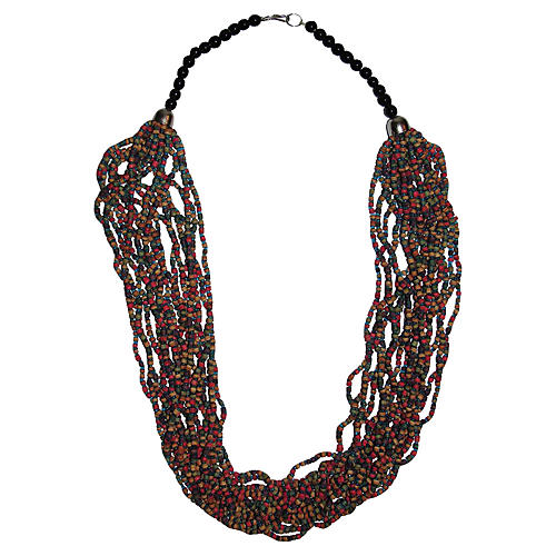 Indian Dyed-Wood Beaded Necklace