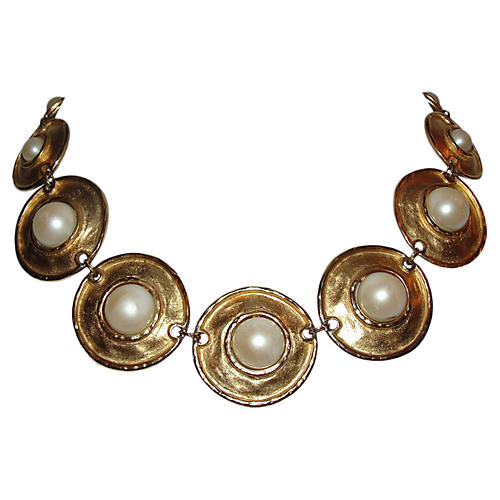 18K Gold & Pearl Collar Necklace, C.1970