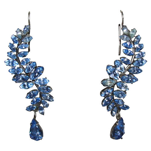 Blue Sterling Drop Rhinestone Earrings