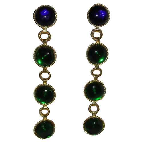Chanel Gripoix Glass Drop Earrings