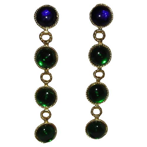 Chanel Gripoix Glass Drop Earrings