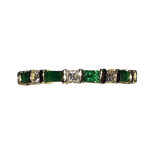 14K Gold Emerald & Diamond Eternity Band