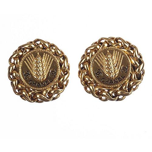 Chanel Monogram Roman Wheat Earrings
