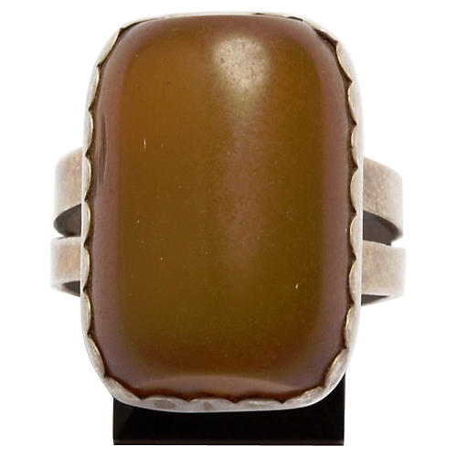 African Sterling Butterscotch Amber Ring