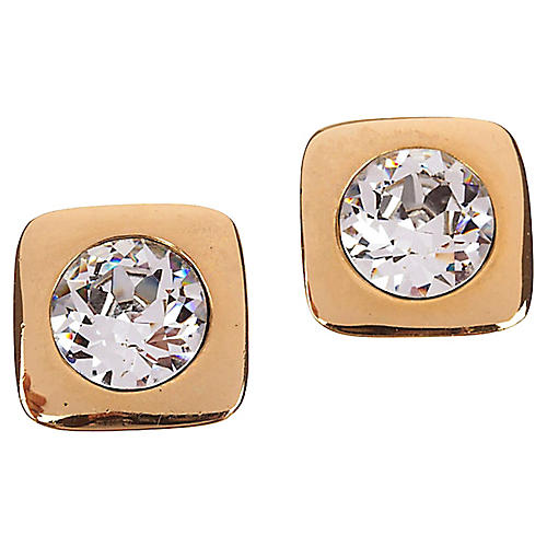 Lanvin Headlight Rhinestone Earrings