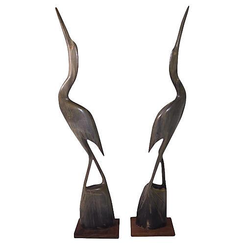 Water Buffalo Horn Crane Statues Set/2