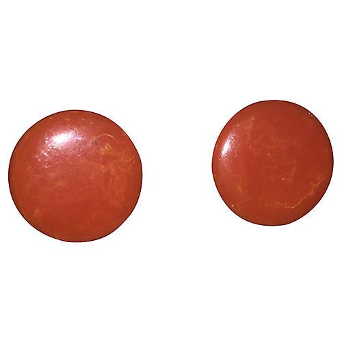 Orange Swirl Bakelite Earrings