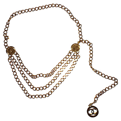 Chanel 3-Strand Coin Chain Necklace
