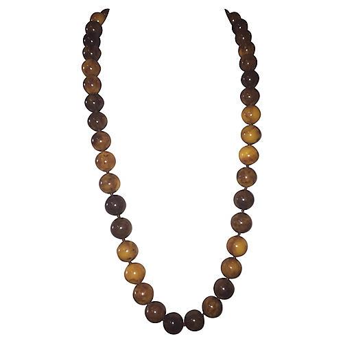 Brown Swirl Bakelite Bead Necklace