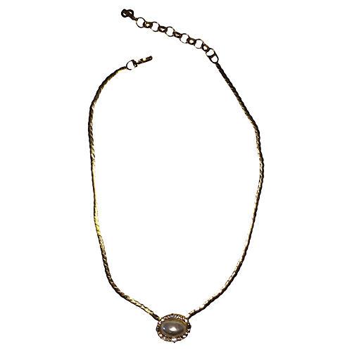 Dior Rhinestone & Mabe Pearl Necklace
