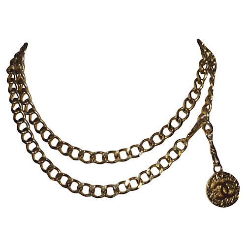 Chanel Chain Coin Pendant Necklace Belt