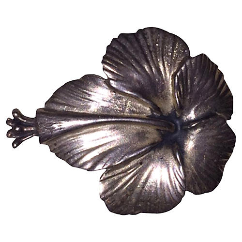 Ming's Honolulu Sterling Hibiscus Pin
