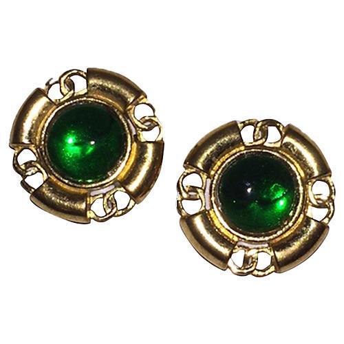 Chanel Green Gripoix Earrings