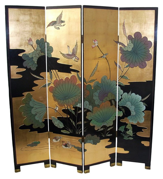Gold-Leaf Asian-Style Screen