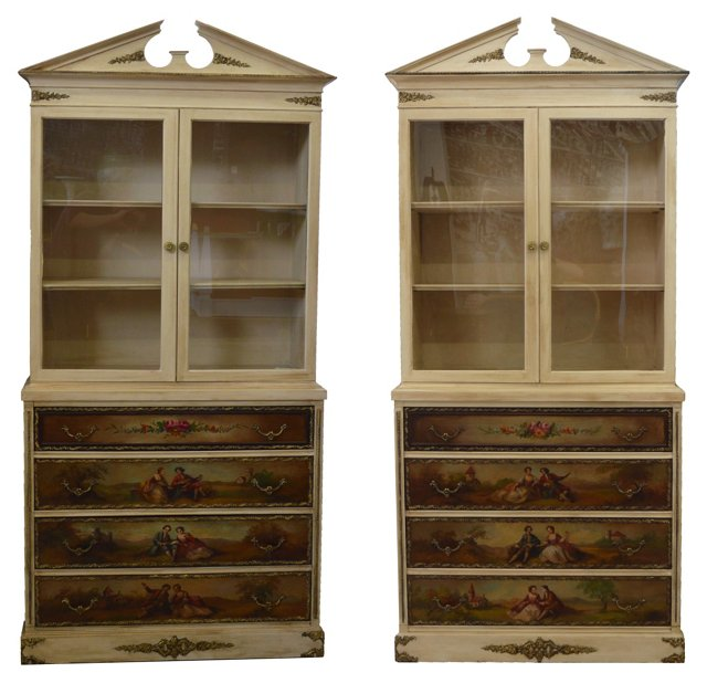 Cabinets w/ French-Style Scenes, Pair