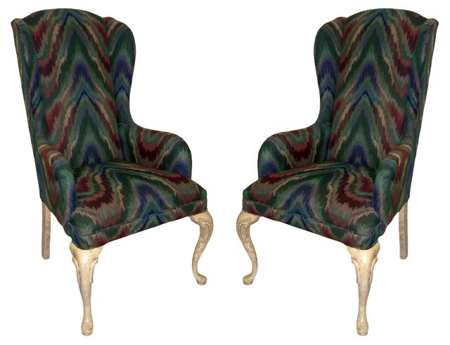 Flame Stitch Wingback Chairs, Pair
