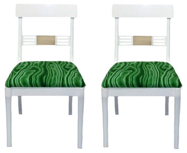 White & Malachite-Print Chairs, Pair
