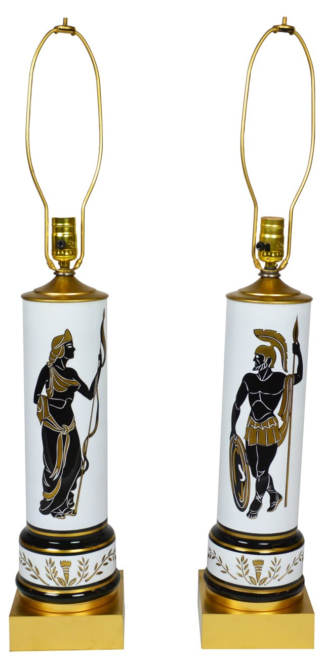 Classical Figure Lamps by Marbro, Pair