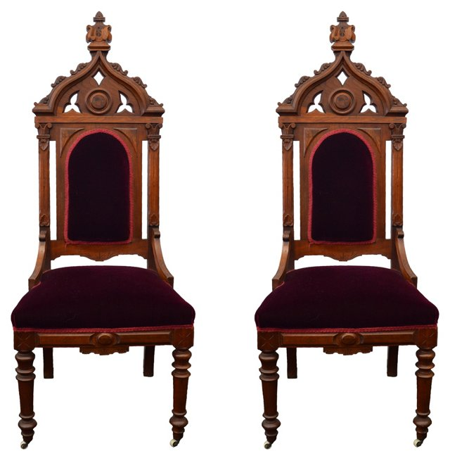 Gothic Revival Side  Chairs, Pair