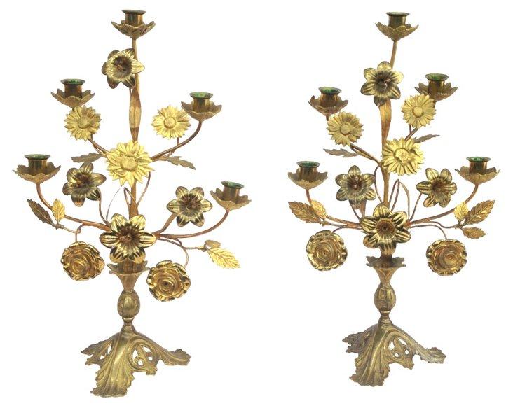 Brass Floral Girandoles, Pair