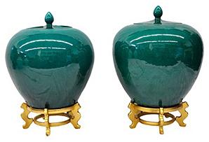 Jade Ginger Jars, Pair