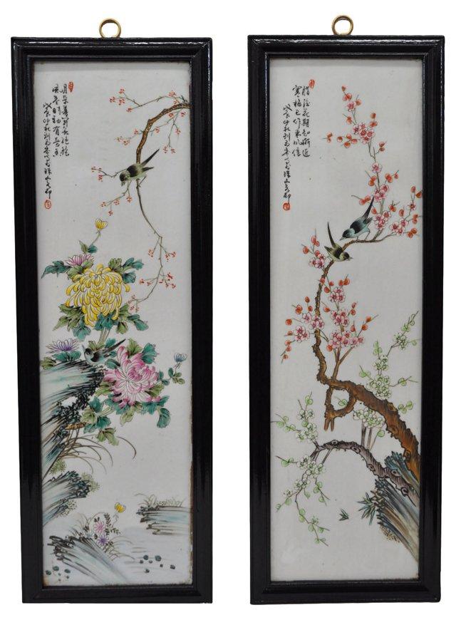 Asian Painted Ceramic Panels, Pair
