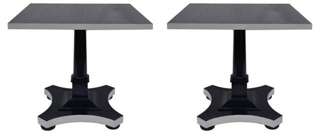 Indigo & White Pedestal Tables, Pair