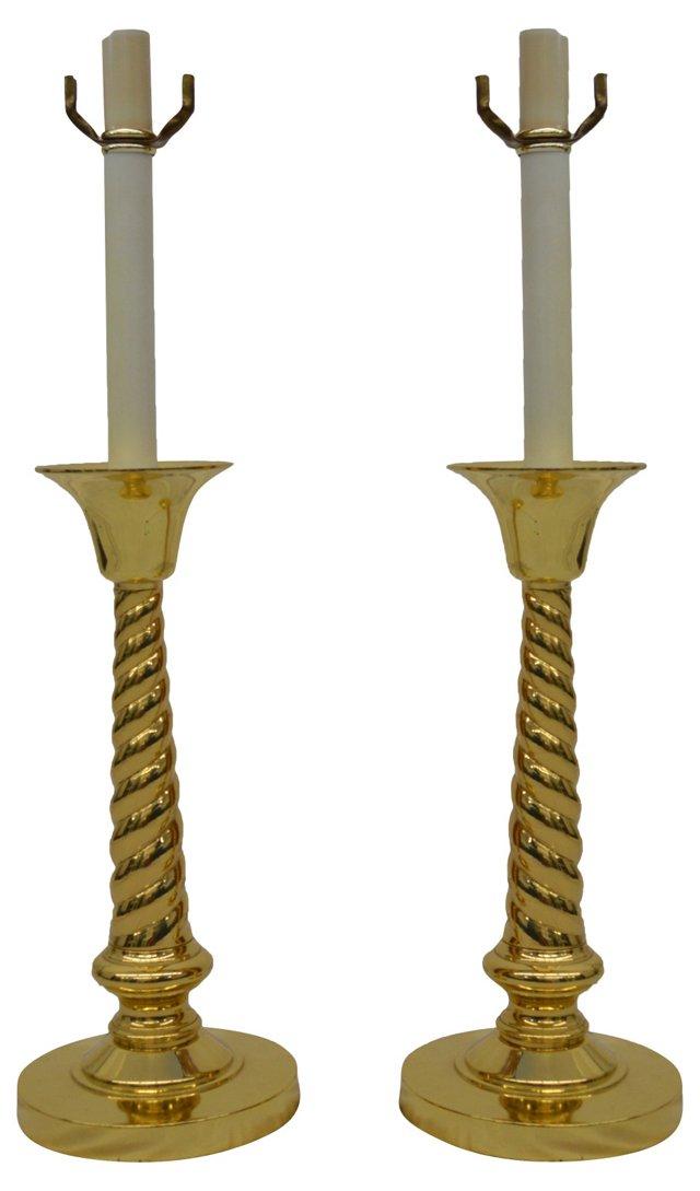 Brass Buffet Lamps, Pair