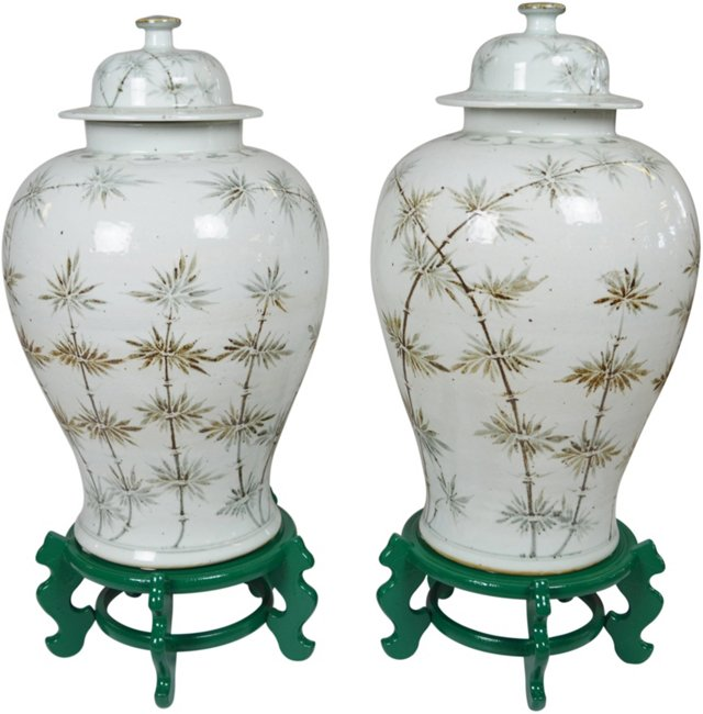 Chinoiserie Reed Ginger Jars, Pair