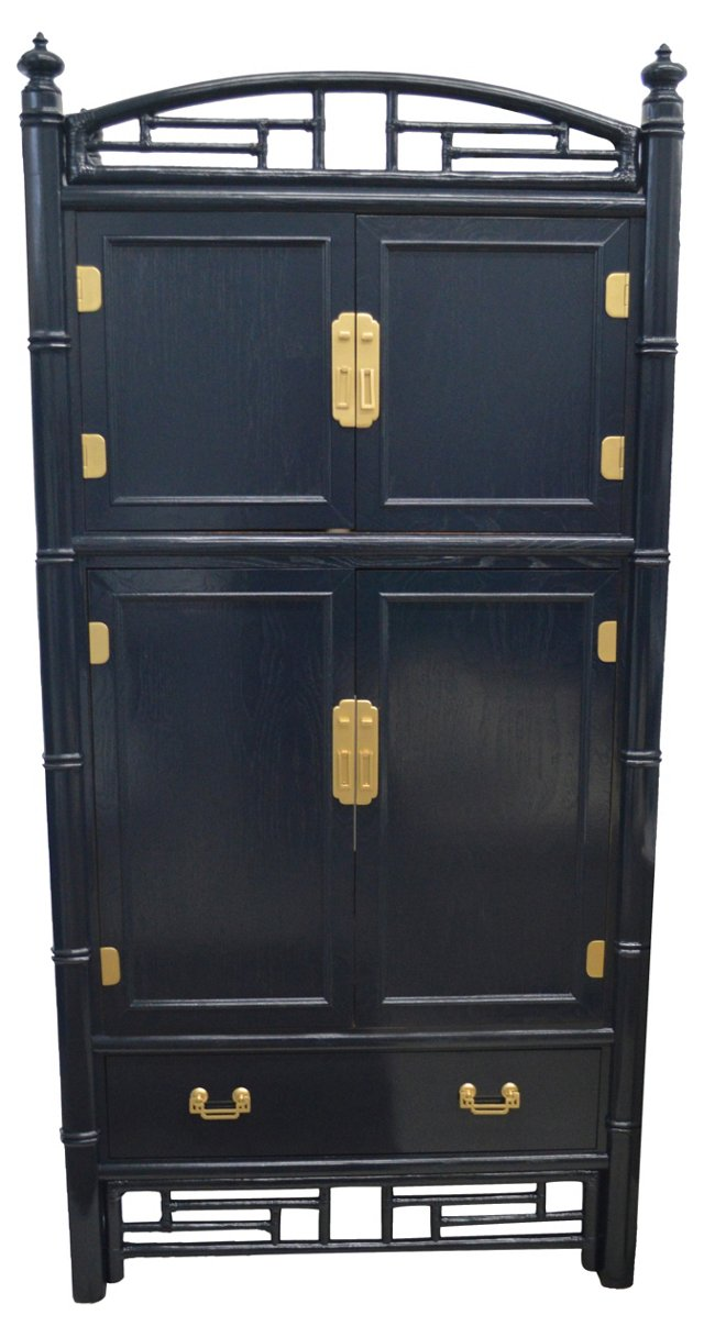 Navy Ficks Reed Lacquered Cabinet