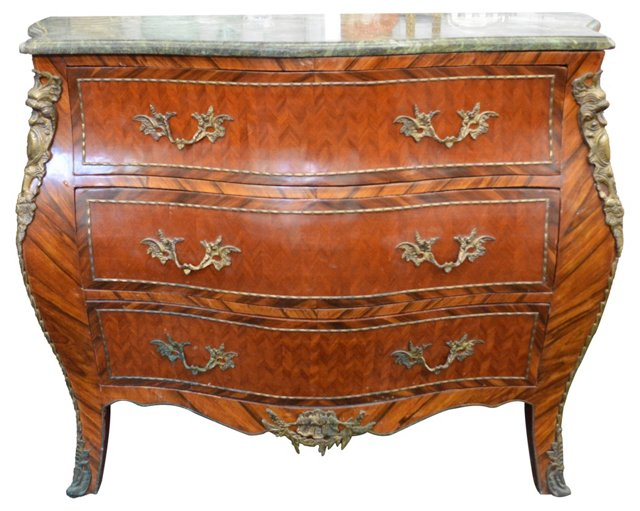 Marble-Top Bombé Chest