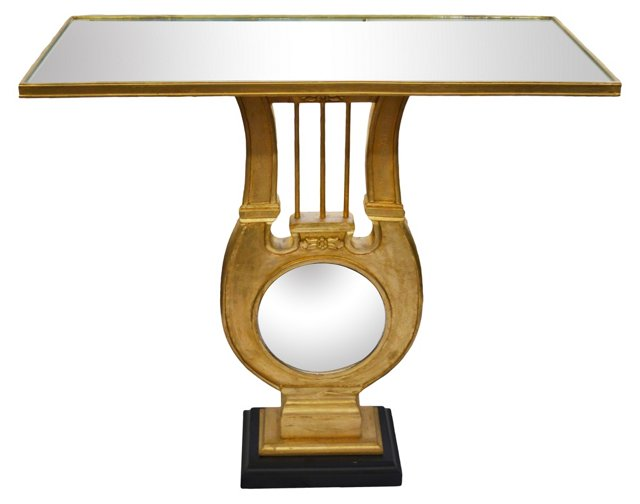 Mirror-Top Console w/ Lyre-Shaped Base